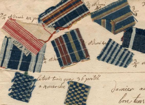 Echantillons de toiles fabriquées vers 1753 par un tisserand de Saint-Christophe