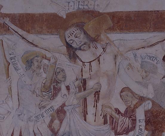 La Crucifixion, une des belles peintures murales de l'église de Saint-Christophe