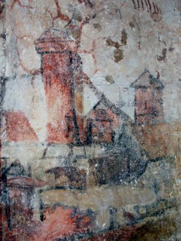 Peinture murale de l'église représentant peut-être le donjon de Saint-Christophe