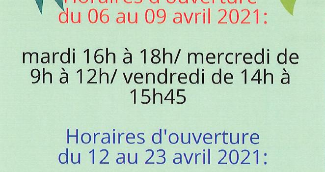 Bibliothèque : horaires d'avril